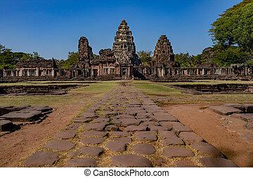 cíl, sever východní, prasat, hin, phimai, ratchasima, důležitý, cestování, historický, thajsko, nakorn