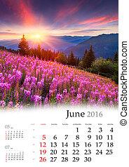 Calendar 2016. June.