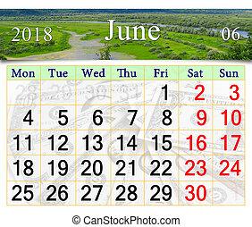Calendar pro june 2018 s divokou krajinou