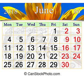 Calendar pro june 2018 se žlutým slunečnicem