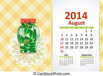 Calendar pro rok, august