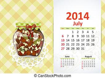 Calendar pro rok, july