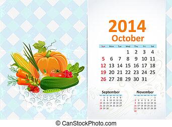Calendar pro rok, october