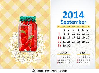 Calendar pro rok, september