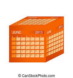 Calendar r. June. Vektorová ilustrace