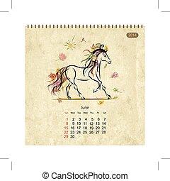 Calendar, rok 2005, pone. Koně umění pro váš návrh