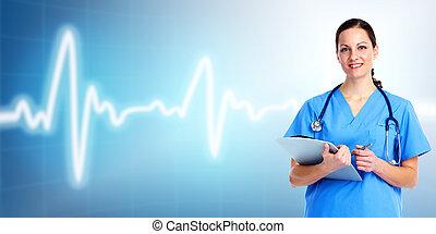 care., falšovat, zdraví, lékařský, woman.
