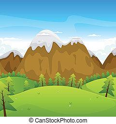 Cartoonská horská krajina