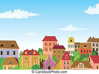Cartoonská městská scéna