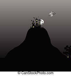 Castle na hoře pro halloweenský den ilustrace