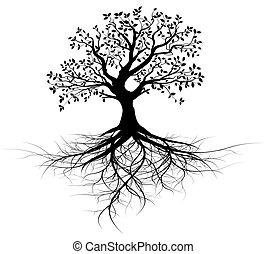 Celý vektor černý s kořeny
