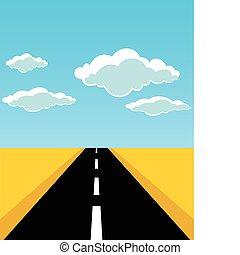 cesta, list, vektor, horizon., ilustrace