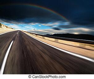 Cesta s rozmazaným pohybem