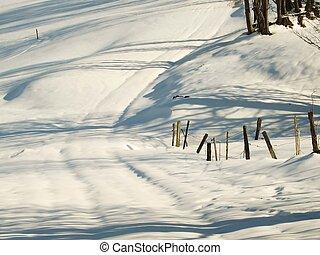 cesta, sněžný