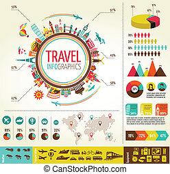 Cestovní a turistické inflikace s datovými ikony, prvky