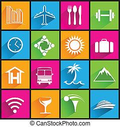 Cestovní ikony na barevných