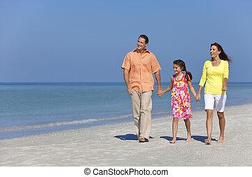 chůze, dcera, rodina, otec, matka, pláž, šťastný