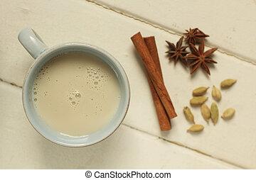 chai, kardamon, čaj, hlava, anýz, skořicovník, názor