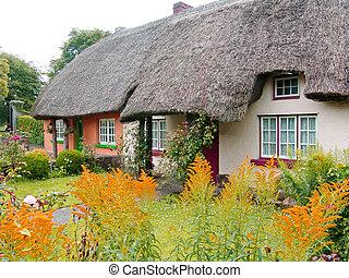 chalupa, došková střecha, irsko, střecha, typický