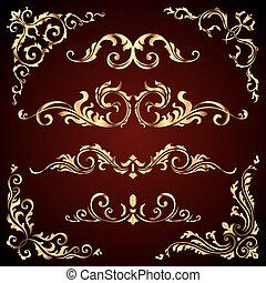 charakter, zlatý, víry, dát, jako, zlatý, grafické pozadí., odpichovátko, výprava, vektor, calligraphic, ponurý, nastrojit co na koho, viktoriánský, standarta, ozdoby, ozdobený, stránka, základy