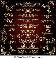 charakter, zlatý, výprava, dát, jako, zlatý, grafické pozadí., odpichovátko, vektor, calligraphic, ponurý, nastrojit co na koho, viktoriánský, standarta, ozdoby, ozdobený, točit se, stránka, základy