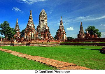 chrám, sad, historický, chaiwattanaram, thajsko, ayutthaya