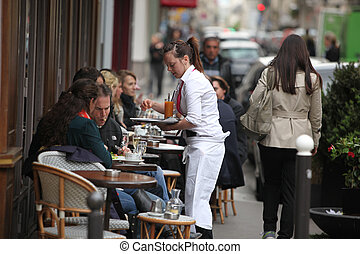 chutnat, -, 2013., duben, metropolitní, jíst, paříž, paříž, napití, chodník, europe., turista, oblasti, většina, výčep, jeden, 27, 27, francie, osídlený, paříský, :