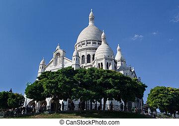 coeur, -, paříž, francie, slavný, katedrála, sacre