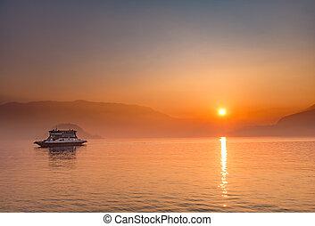 como, jezero, západ slunce