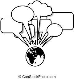 copyspace, blogs, povídat si, řeč, tweets, hlína, východ, bublina