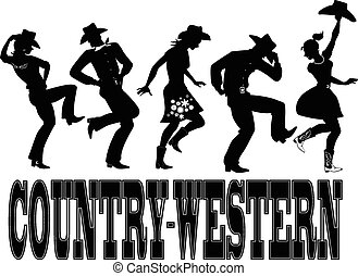 country-western, tanec, silueta, ba