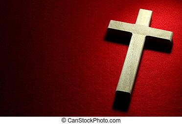 Crucifix na červené
