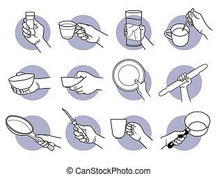 cup., rukopis, pití, kuchyně, majetek, crookery