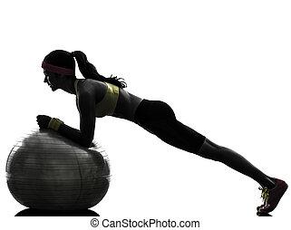 Cvičící fitnessová poloha silueta