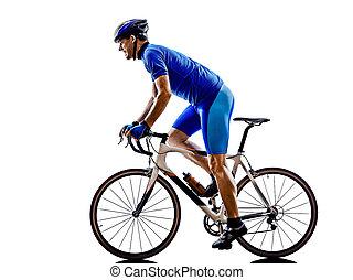 cyklista, silueta, jezdit na kole, cesta, cyklistika