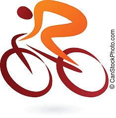 cyklista, vektor, -, ilustrace, ikona