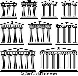 dát, řečtina, vektor, architektura, starobylý, sloupec