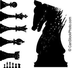 dát, šachy, grunge