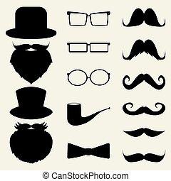 dát, brýle, klobouky, knír