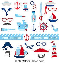 dát, brýle, podepřít, -, masky, loďi, vektor, kníry, photobooth, lodní, strana povolání