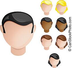dát, hlavy, národ, vlas, barvy, 4, kožešina, female., mužský