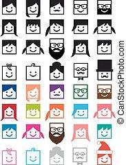 dát, národ, avatars, vektor, uživatel, ikona