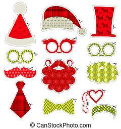 dát, -, omočit si rty, brýle, masky, vektor, kníry, photobooth, strana povolání, vánoce