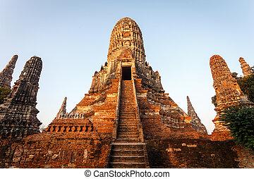 dávný, chai, chrám, p, historický, wattanaram, wat, ayutthaya