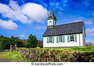 dávný, island, thingvellir, pingvallkirkja, církev, malý