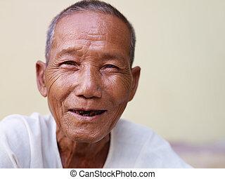 dávný, kamera, asijský, portrét, úsměv zdařilý, voják