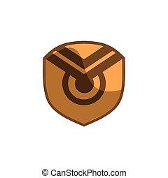 dírka, pojem, ikona, emblém, zlatý, chránit