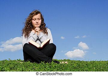 dívčí, bible, venku, prosit, dítě, výklad, nebo