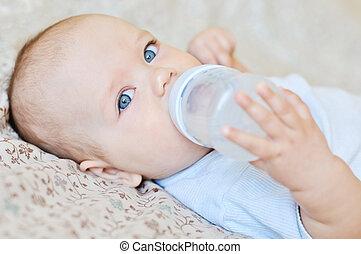 děťátko, namočit, pití