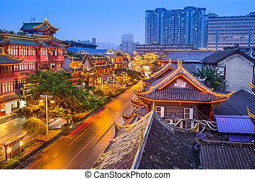 dějinný, čína, chengdu, okres